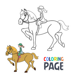 coloring page with woman ridding horse cartoon vector image