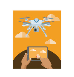 controlling camera drone with tablet vector image