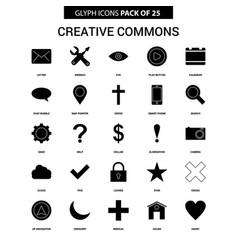 Creative commons glyph icon set vector