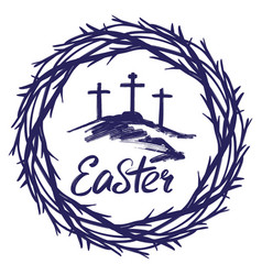 Crown thorns and calligraphic text logo easter vector