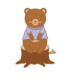 Cute bear in trunk woodland character vector