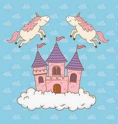Cute fairytale unicorns with castle in the clouds vector