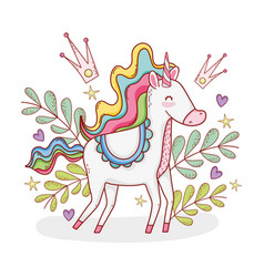 Cute unicorn with plants leaves and crowns vector