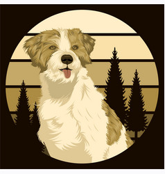 dog outdoor sunset retro vector image