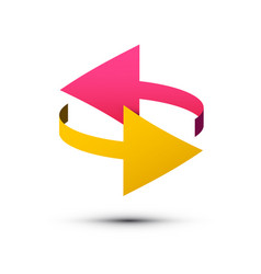 double arrows symbol left and right pink and vector image