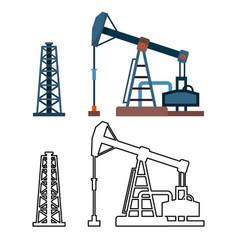 drawn industrial equipment oil pump rig set vector image