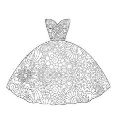 dress princess coloring vector image