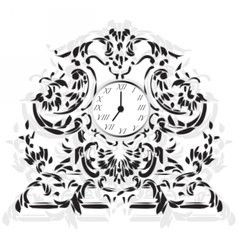 Elegant clock with baroque ornaments vector