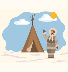 eskimo character waving hand near tent vector image