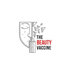 face beauty vaccine logo on white background vector image