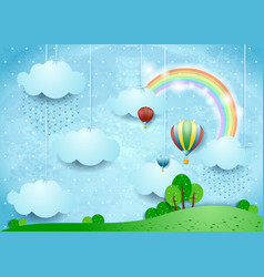 Fantasy landscape with rain and hot air balloons vector