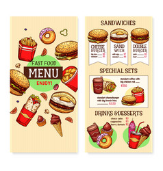 Fast food burgers menu template vector