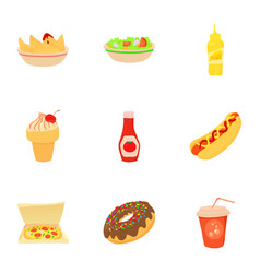 fast food menu icons set cartoon style vector image