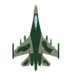 fighter aircraft cartoon military equipment icon vector image vector image