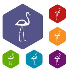 flamingo icons set hexagon vector image