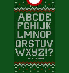 folk christmas font scandinavian style knitted vector image