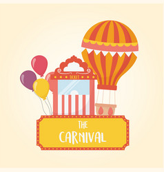 Fun fair carnival air balloon ticket booth and vector