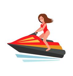 Girl on jet ski vector