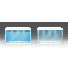 Glass aquarium with water and empty terrarium vector
