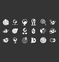 globe icon set grey vector image