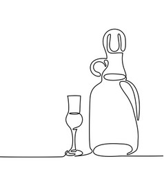grappa bottle and glass isolated vector image
