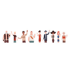 greeting gesture multinational mens and womens vector image