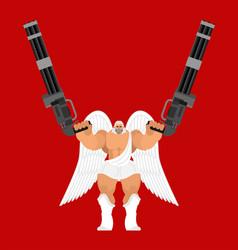 Guardian angel and minigun warrior archangel vector