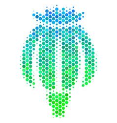 Halftone blue-green opium poppy icon vector