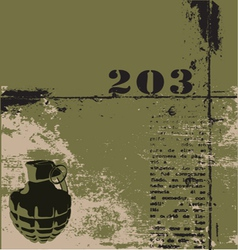 Hand grenade grunge background vector