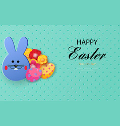 happy easter cartoon easter bunny vector image