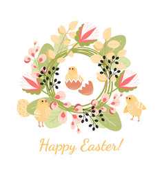happy easter greeting card with chickens and eggs vector image