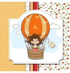 Happy girl flying with a balloon flying vector