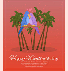 happy valentines day lettering on banner palm vector image