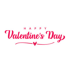 happy valentines day pink typography banner vector image