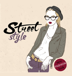 hipster girl with glasses vector image