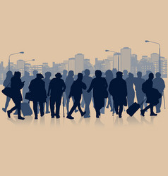 Huge crowd of people silhouette in the city vector