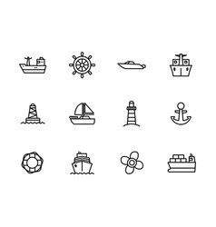 icon set sea ship sailing boat steering vector image