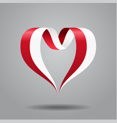indonesian flag heart-shaped ribbon vector image