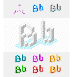 Isometric font from the cubes Letter B vector