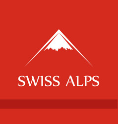 Logo swiss alps on red background vector