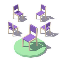 Low poly chair vector