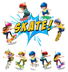Many kids playing skate vector