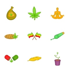 Marijuana icons set cartoon style vector