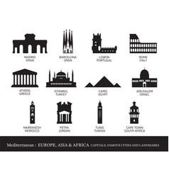 mediterranean europe africa asia cities vector image
