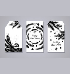 Merry christmas and new year tags set vector