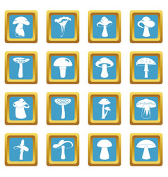 Mushroom icons azure vector