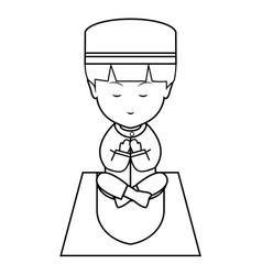 muslim boy pray cute line art vector image