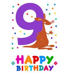Ninth birthday cartoon greeting card design vector
