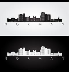 Norman oklahoma usa skyline and landmarks vector
