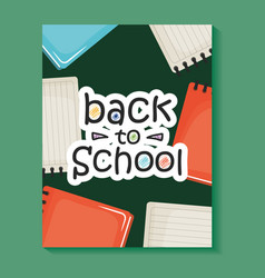 notebooks school supplies with textbooks pattern vector image